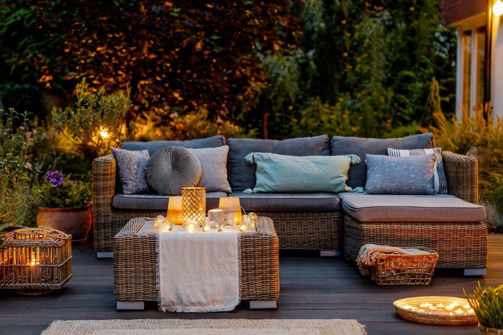 Gemütliche Beleuchtung Terrasse