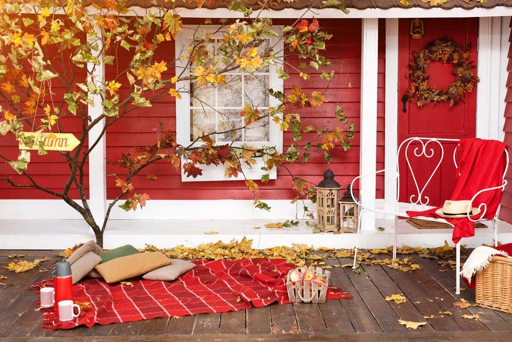 Terrasse Herbst Dekoration