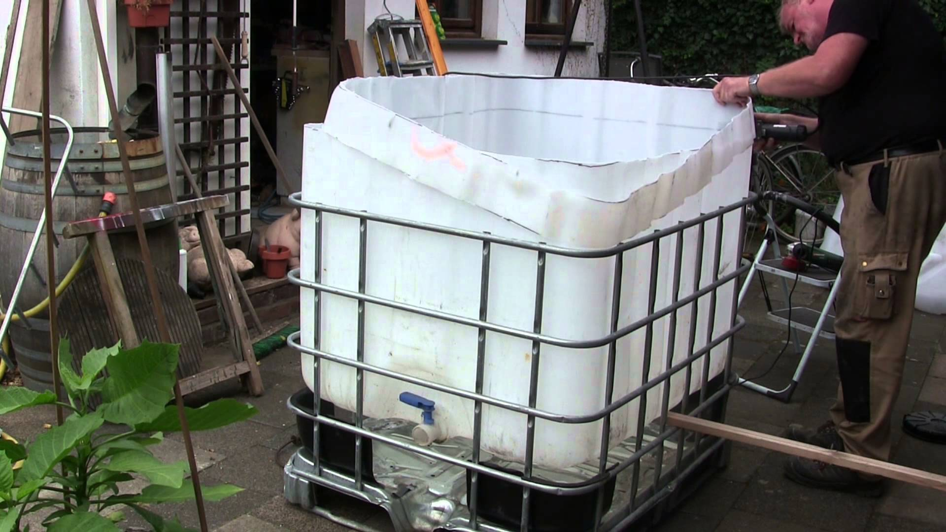 video pool aus ibc tank container selber bauen so einfach geht s. Black Bedroom Furniture Sets. Home Design Ideas