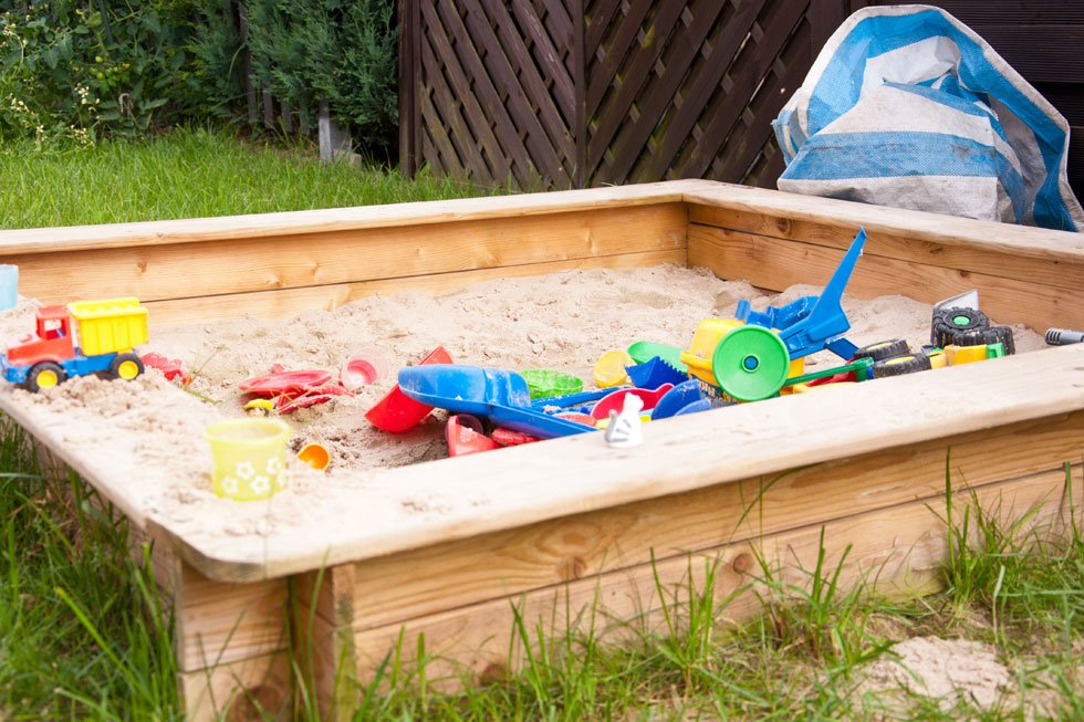 Sandpit made of wood