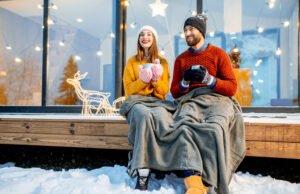 Terrasse winterlich dekorieren