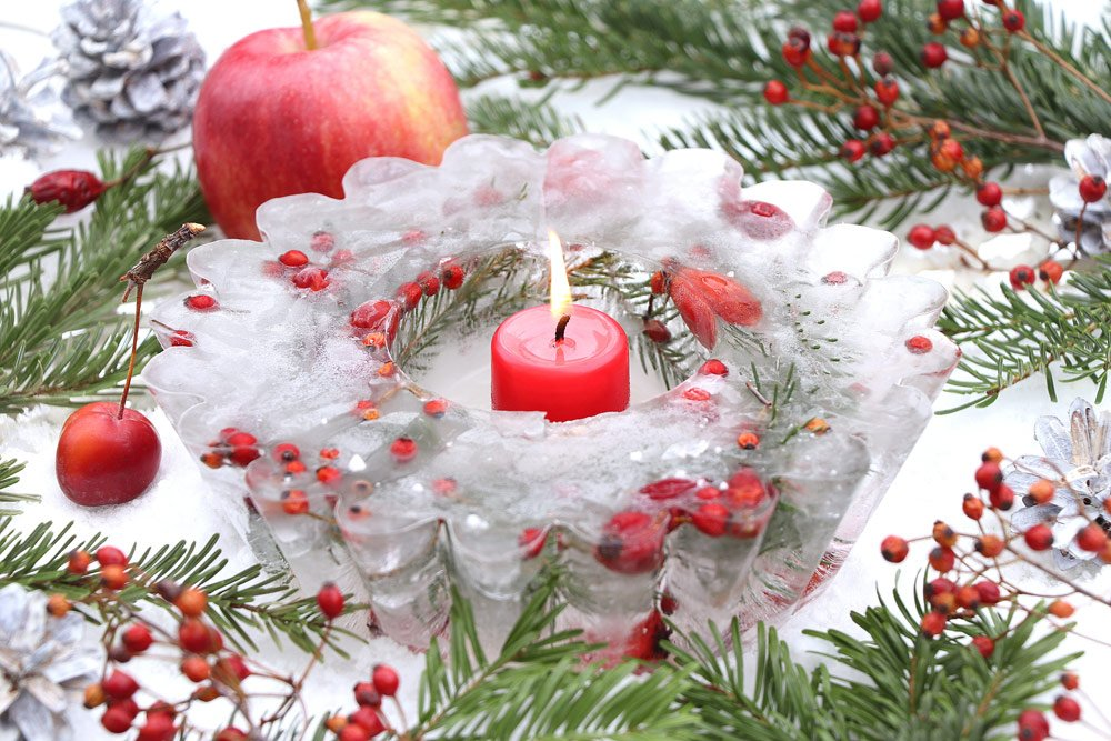 Terrasse winterlich dekorieren: Eisdeko
