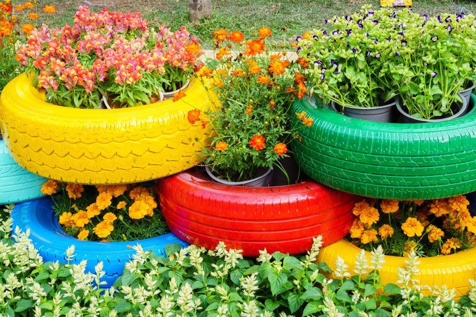 Originelle pflanzgef e 21 pfiffige ideen f r jeden for Gartenteich aus reifen
