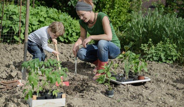 Gartenarbeit für kleine Kinder