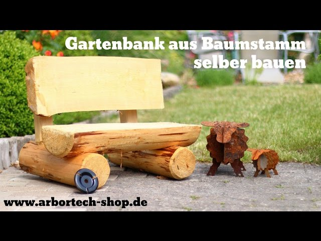 video rustikale gartenbank aus baumst mmen selber bauen. Black Bedroom Furniture Sets. Home Design Ideas