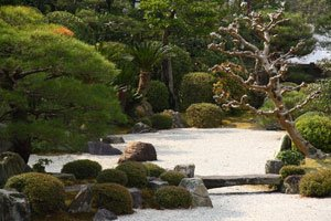 Der Garten wird vor allem vom Element Stein beherrscht