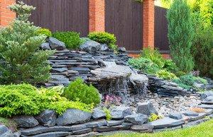 Wasserfall Garten Naturstein