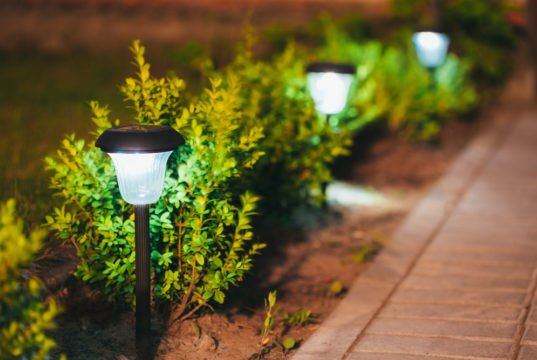 Gartenweg mit Solarlampen beleuchten