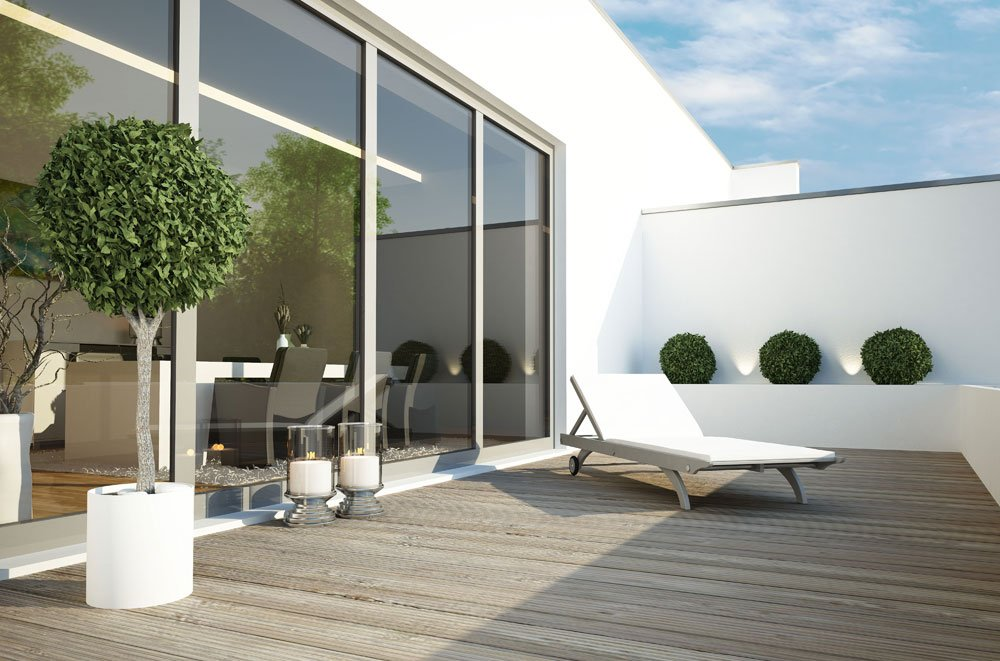 terrasse puristisch gestalten so richten sie moderne. Black Bedroom Furniture Sets. Home Design Ideas