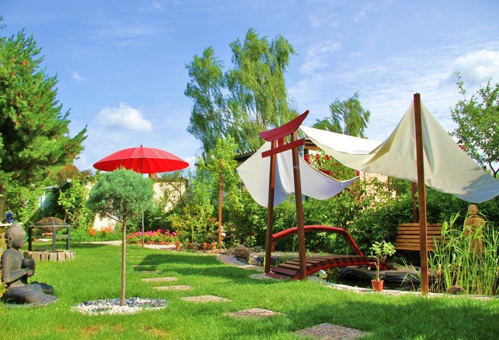Sonnensegel als Sonnenschutz für den Gartenteich