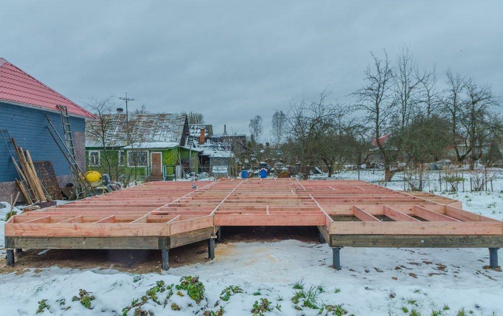 Holzfundament auf Punktfundament