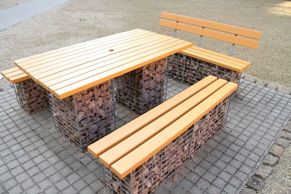 bank aus gabionen selber bauen. Black Bedroom Furniture Sets. Home Design Ideas