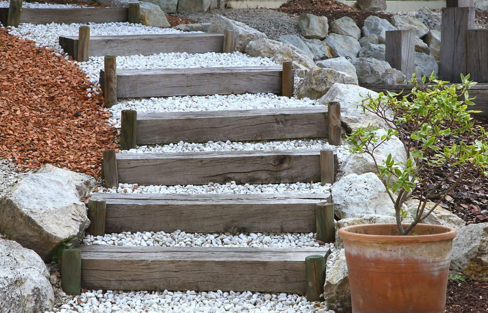 Gartentreppe - Knüppelstufen