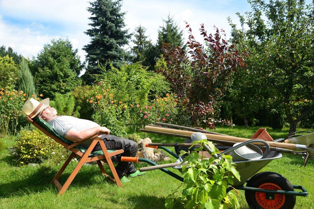 Gärtner ruht sich aus